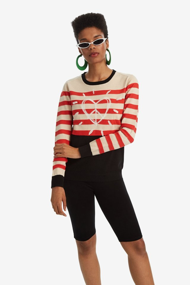 Want More Love: Desigual DALLAS striped sweater with heart FW2019.