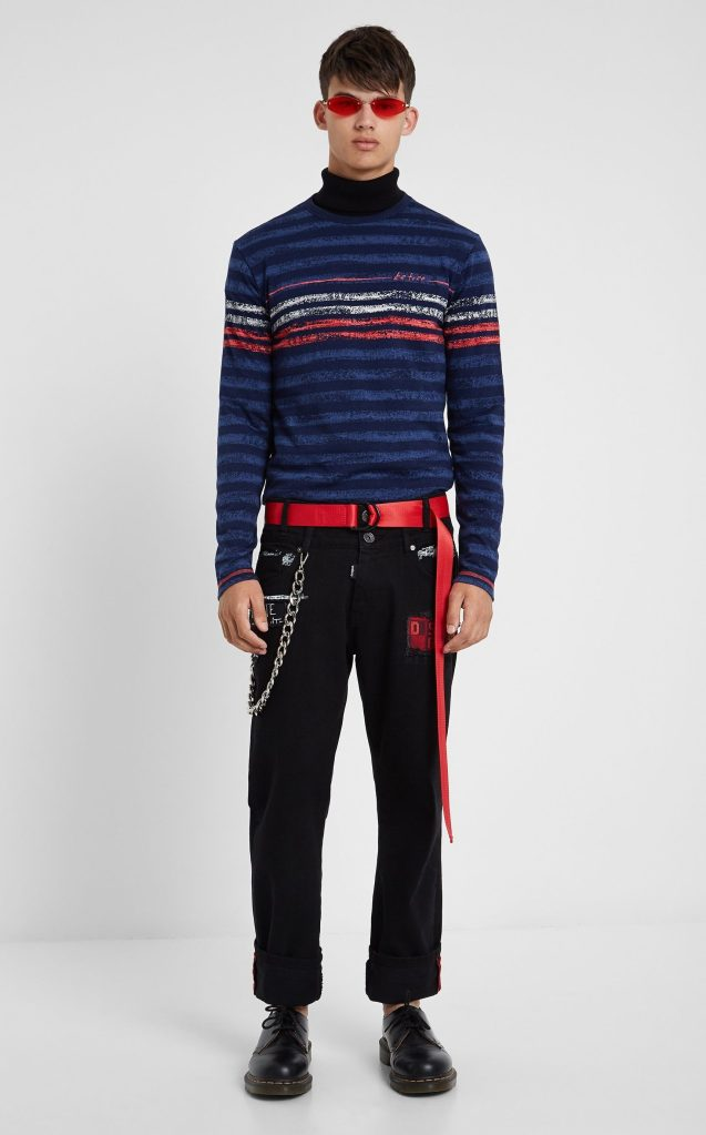 Desigual DANI striped cotton T-shirt. $125.95. FW2019.