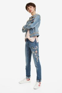 Desigual FLOWERS & PEARLS denim jacket