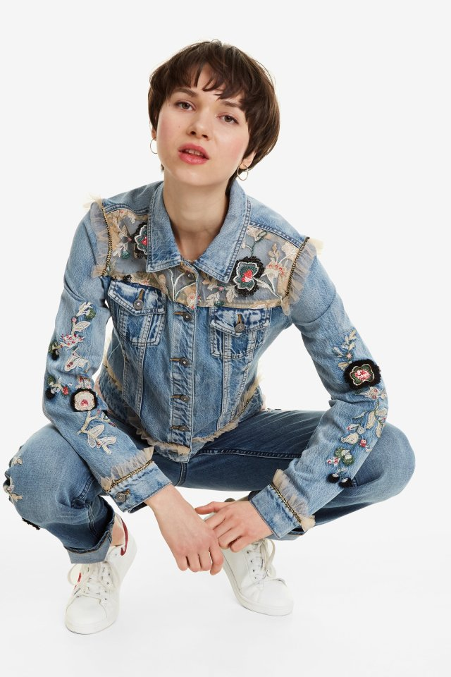 Desigual FLOWERS & PEARLS denim jacket FW2019