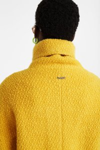 Desigual LAND yellow fall coat with high colour and front zip Fall-Winter 2019 collection