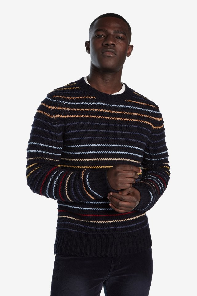 Desigual AARON striped sweater. $189.95. FW2019.