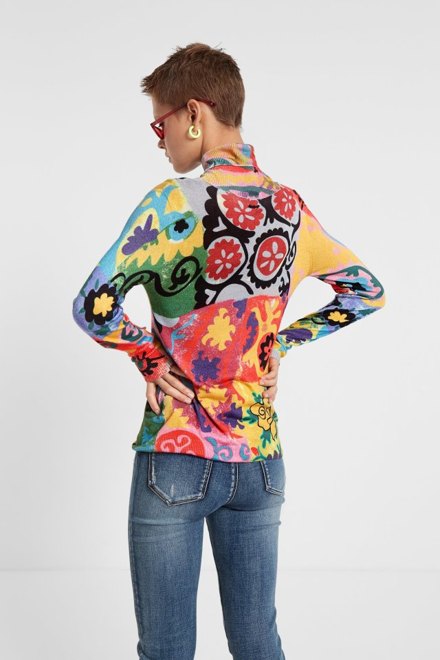 This is the Desigual OSHAWAboho polo neck sweater, which is an ultra-soft blend of viscose and cashmere.