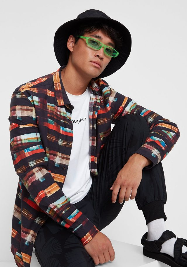 Desigual KEVIN arty tartan shirt, which looks like it was hand-painted. $125.95. FW2019. 100 percent cotton.