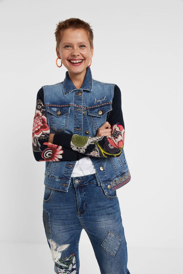 Desigual HURRA exotic denim jacket with knit sleeves FallWinter 2019 collection