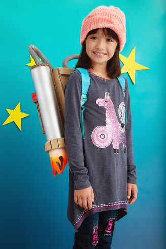 Desigual kids NICOLAS sequin llama T-shirt FW2019 collection