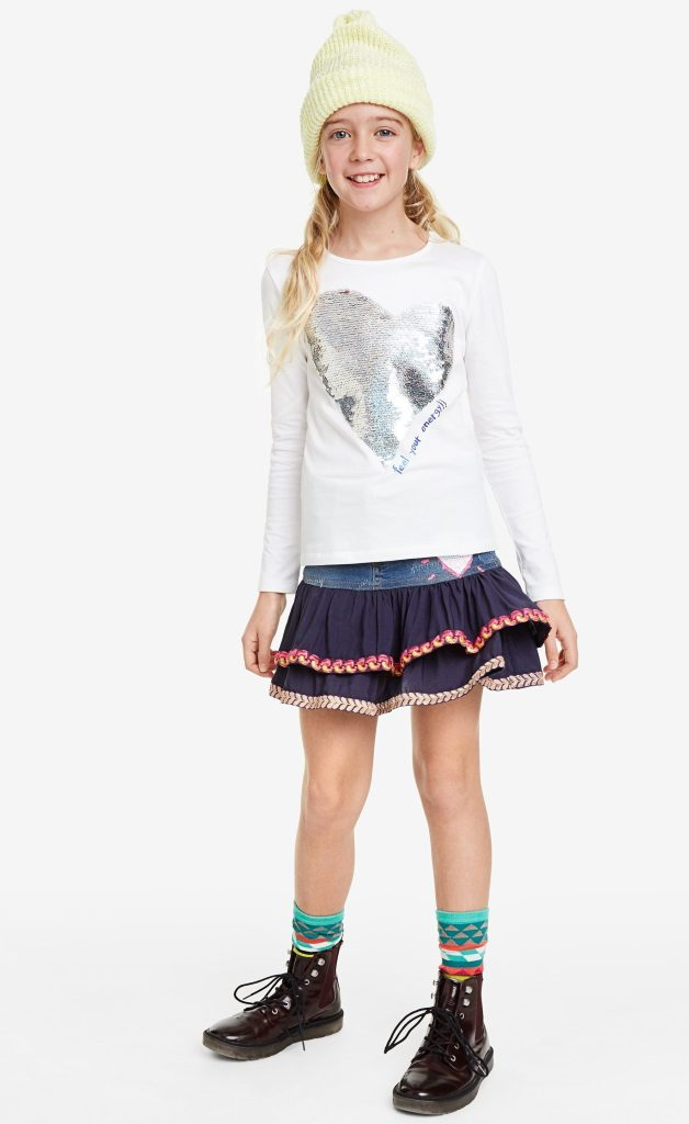 Desigual kids VIRGINIA reversible sequins heart T-shirt FW2019