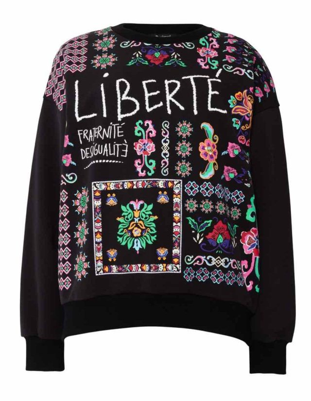 Desigual TIANA embroidered sweatshirt 100% cotton FW2019.