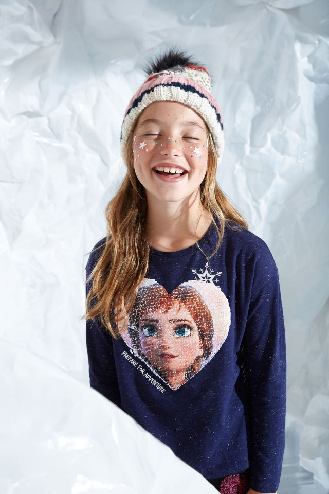 Desigual kids FROZEN 2 reversible sequins T-shirt FW2019.