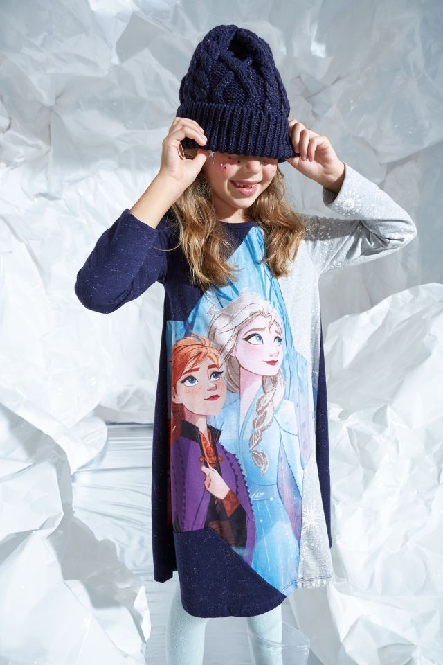 Desigual kids FROZEN 2 Elsa and Anna dress FW2019.