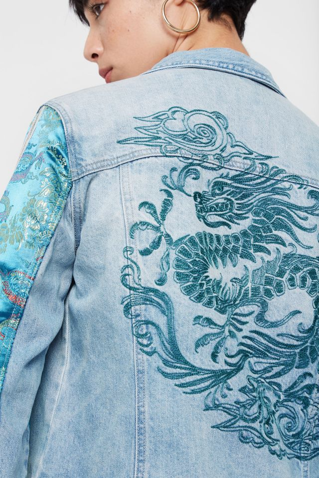 Desigual CARSON denim jacket with embroidered dragon on back