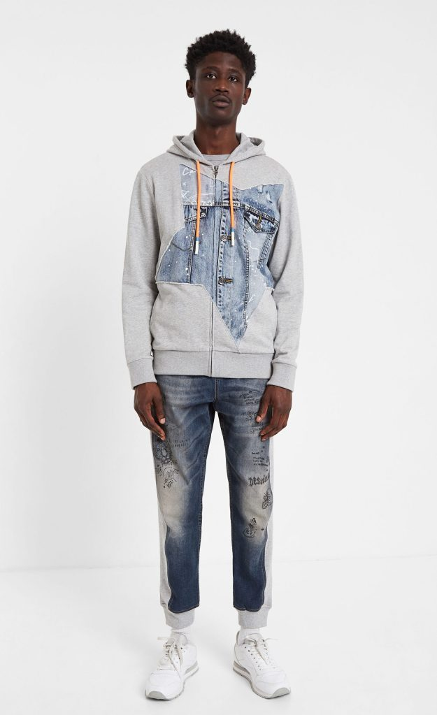Desigual man HUNTER hybrid denim patch sweatshirt SS2020
