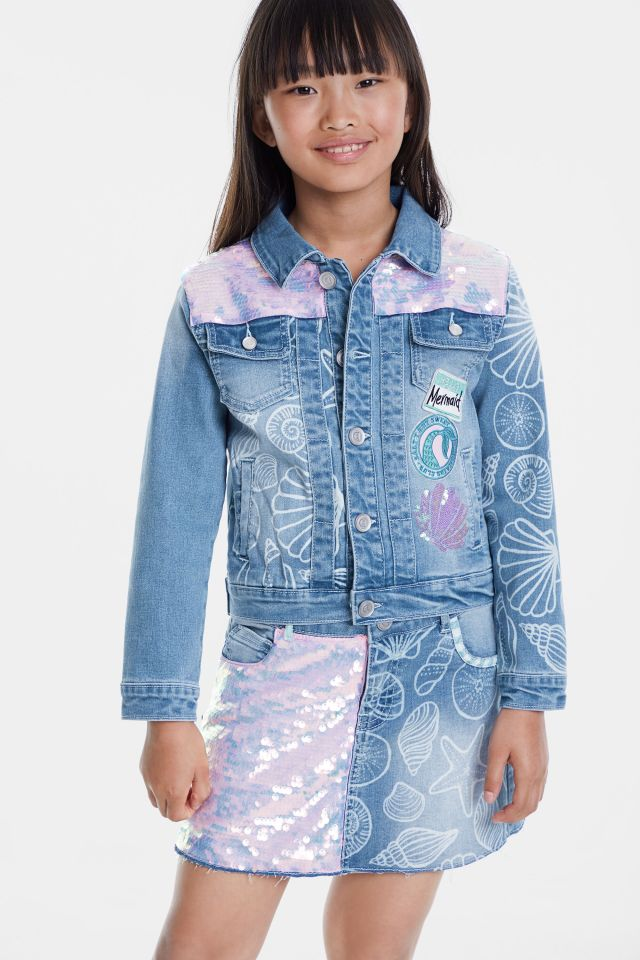 Desigual kids CEREZA denim mermaid jacket with sequins and seashells SS2020.