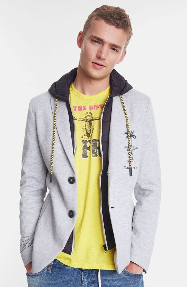 Desigual ADAM men's blazer with zip-out hoodie SS2020.