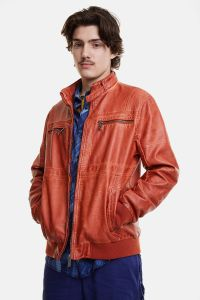 Desigual AMOS men's orange vegan leather jacket SS2020