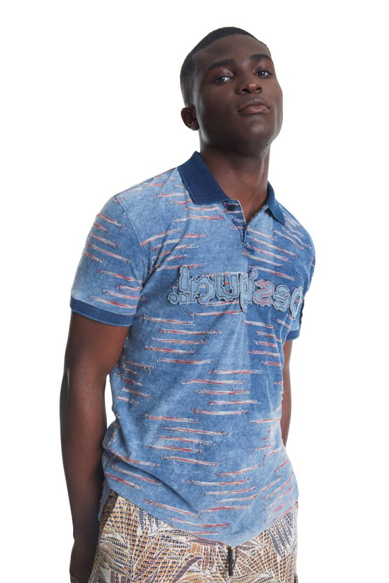 .Desigual BEAU blue cotton polo shirt SS2020