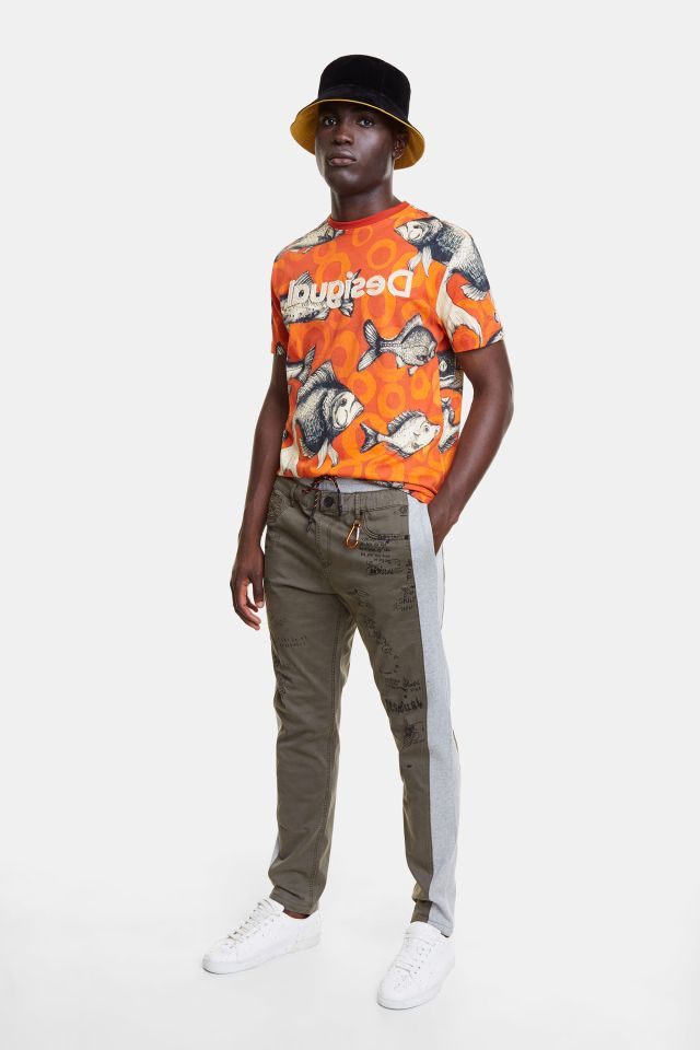 Desigual NISSIM khaki cotton joggers Spring-Summer 2020 collection for men.