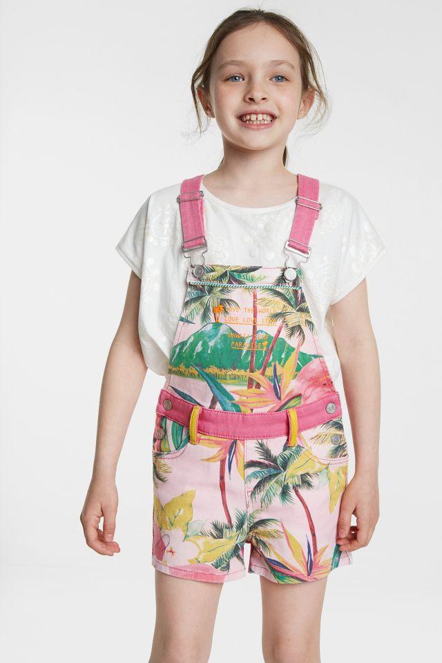 Desigual kids MARTINEZ Hawaiian overall cotton shorts SS2020