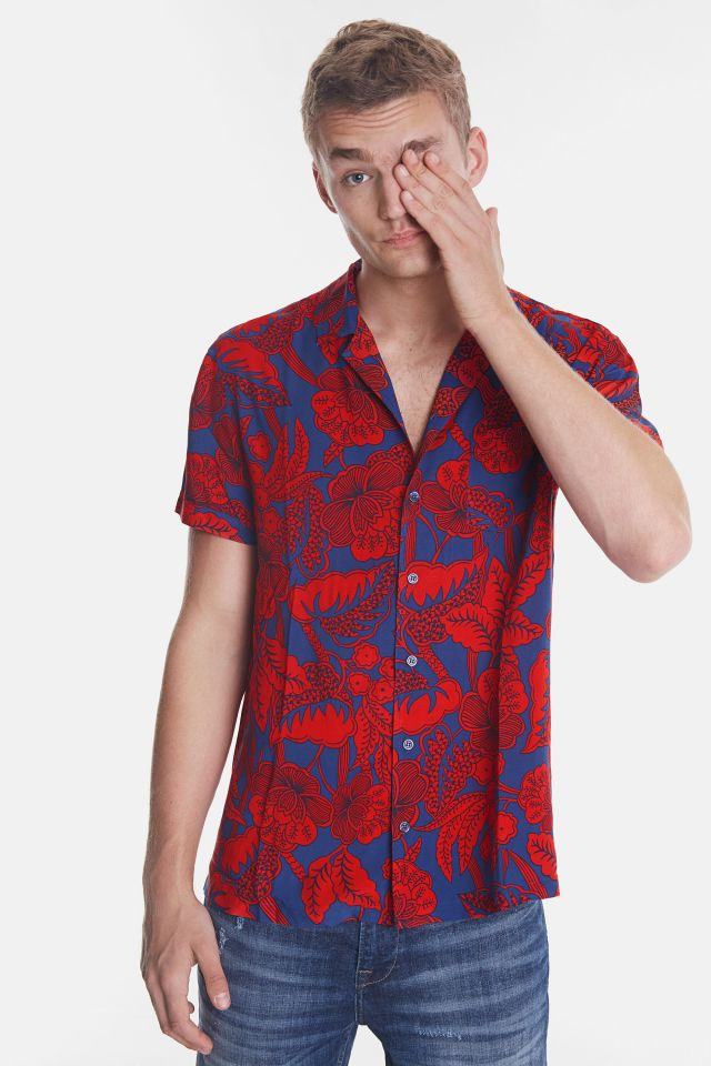 Desigual FINN red on blue Hawaiian shirt SS2020