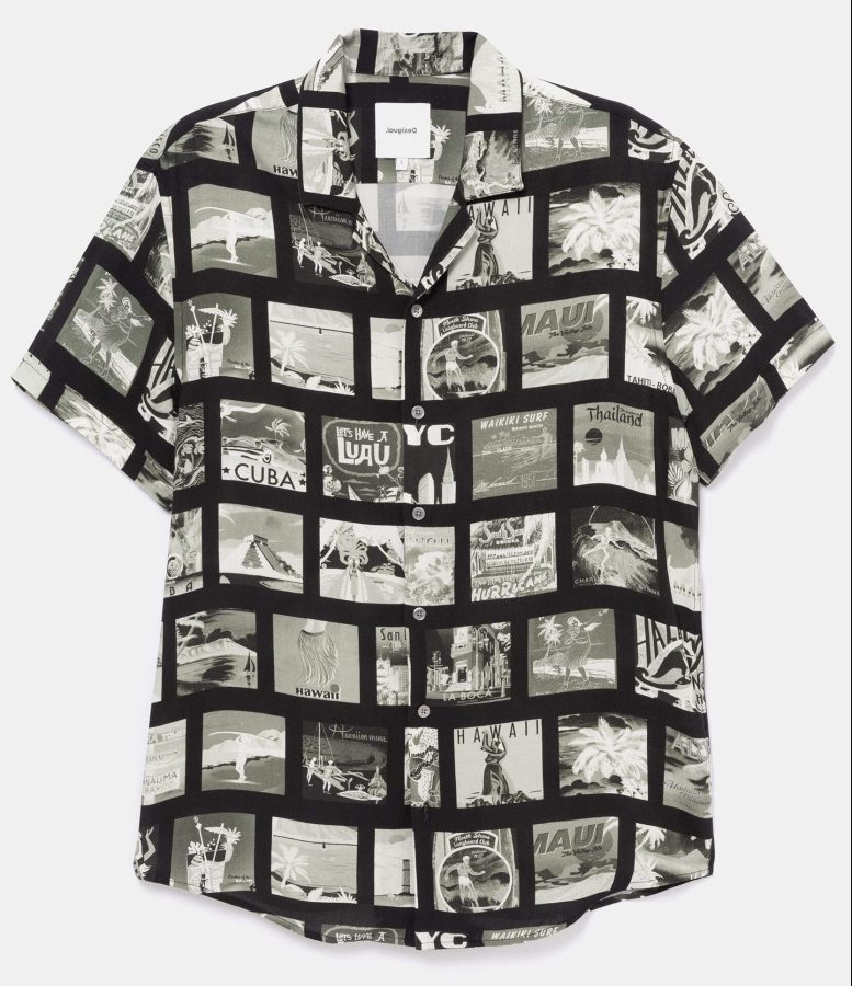 Desigual GABRIEL vintage postcard shirt in black and white SS2020