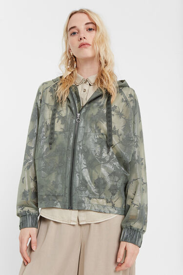 Desigual BURNOUT transparent floral windbreaker SS2020