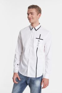 Desigual mens SANIEL white shirt with black stripe. SS2020.