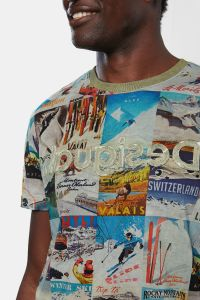 Desigual MAY vintage ski postcard T-shirt. $105.95.