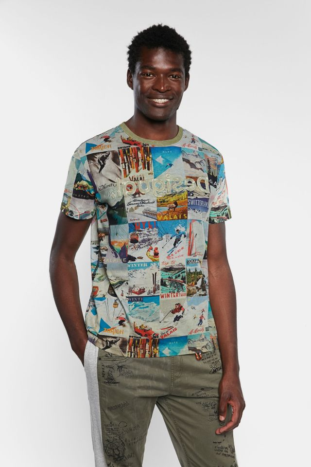 Desigual MAY T-shirt with vintage ski postcards SS2020.