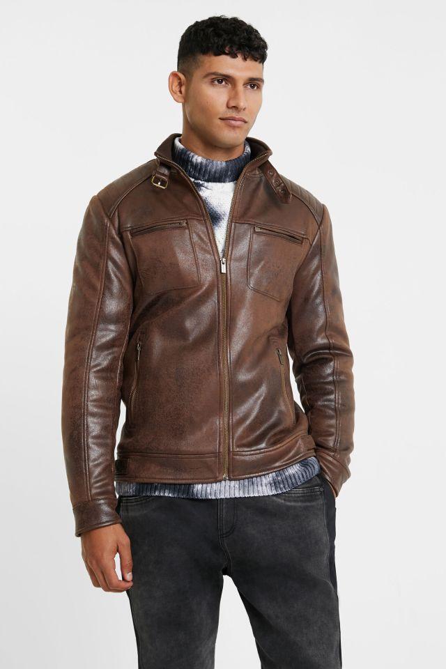 Desigual CARO brown vegan leather jacket FW2020