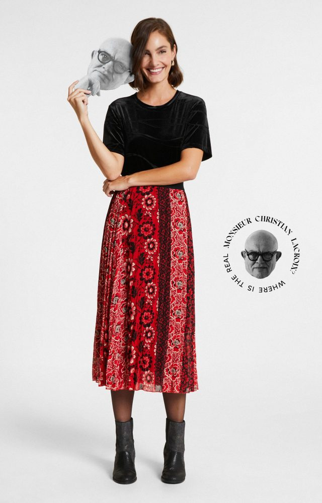 Desigual ROSAL pleated skirt by Lacroix. $189.95. FW2020.