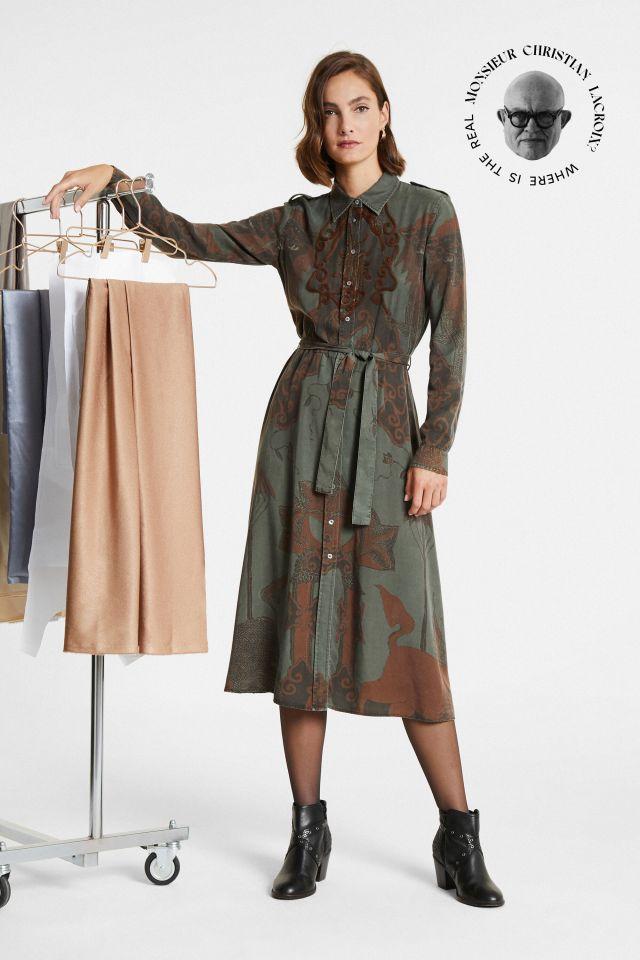"""Desigual """"Guardians"""" long tencel dress by Christian Lacroix. $235.95. FW2020."""