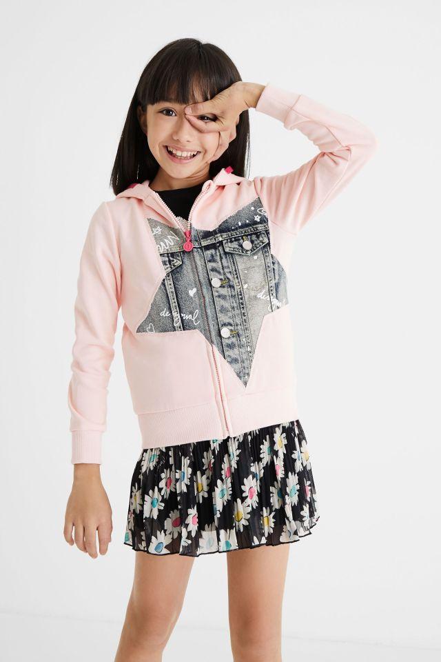Desigual kids patch denim hoodie sweatshirt Summer 2021