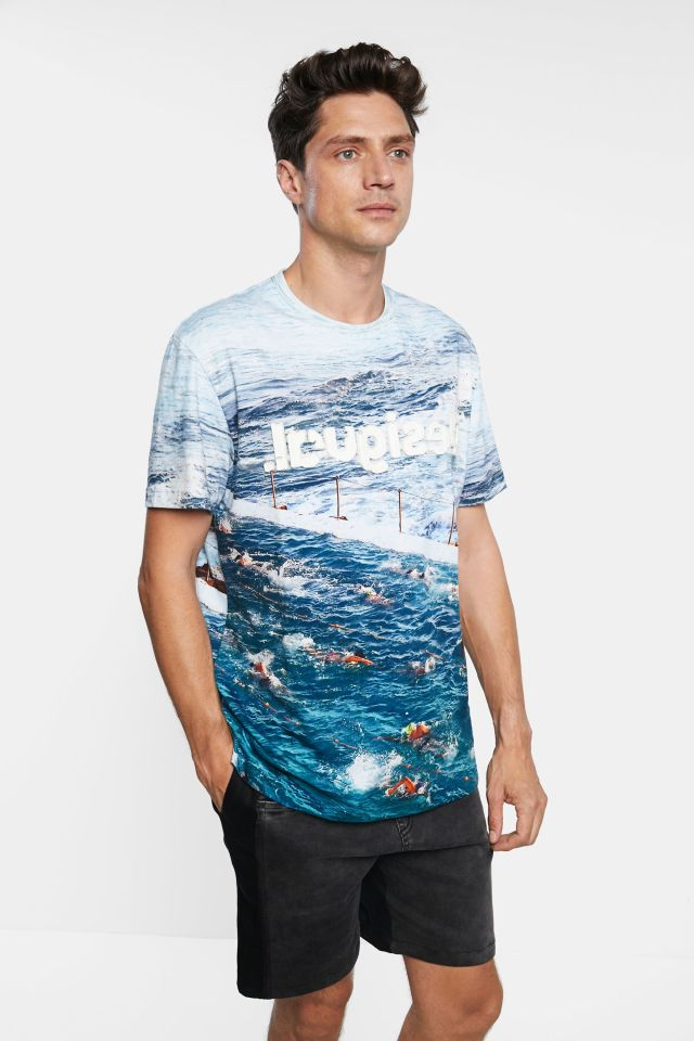 Desigual T-shirt with photographic image of swimmers at Bondi Beach Australia