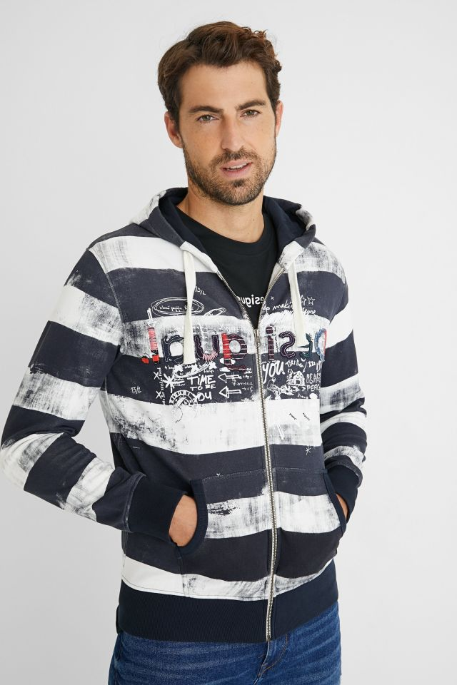 Desigual plush striped zip sweatshirt 2021